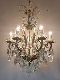 antique 7 arm birdcage gilt brass crystal chandelier