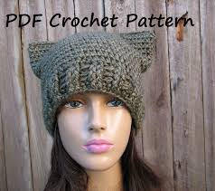 Cat Hat Crochet Pattern Mesmerizing CROCHET PATTERN Cat Hat Slouchy Hat Crochet Pattern PDFEasy