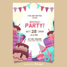 Birthday Invitation Cards Templates Happy Birthday Party Invitation Template Vector Free Download