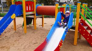 Children's Playground outdoor - kids on the playground - testing a slides -  YouTube
