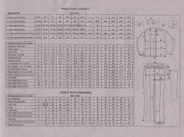 Chart Track Our Track Suits Chart