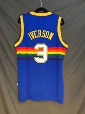 denver nuggets throwback jersey. allen iverson #3 denver nuggets throwback jersey stitched men blue r