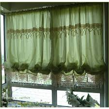 french country crochet lace green balloon shade austrian sheer voile 26