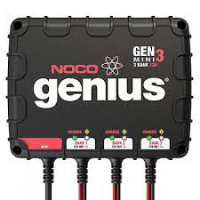 noco genm3 on board 3 bank 12a battery charger for 12v trolling motor generator