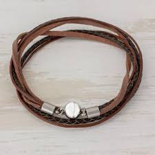 men s brown leather smooth and braided band wrap bracelet cosmopolitan in brown