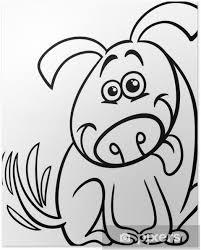 Poster Grappige Hond Cartoon Kleurplaat Pixers We Leven Om Te