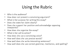 argument essays what is an argument essay a type of writing that  using the rubric who is the audience how does lori present a convincing argument
