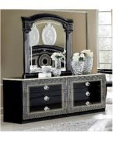 Luca Home Black Silver Dresser and Mirror Luca Home DresserMirror Black