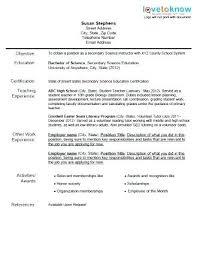 Objectives For Teaching Resume Resume Of A Teacher Teaching