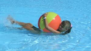 Creativity Beach Ball On Child Playing In Swimming Pool With Design