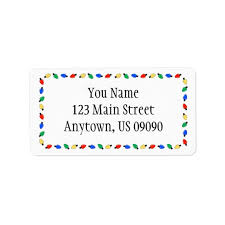 Labels With Border Christmas Lights Border Address Labels White