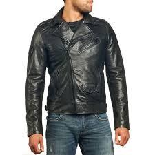 details men s black leather jacket classic biker cut 4 external 1 internal pocket epaulettes and adjule straps metallic affliction logo