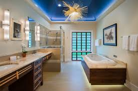 hidden bathroom lighting ideas under floating look tub and on the blue ceiling amazing amazing bathroom lighting ideas