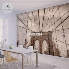 sepia toned vintage look brooklyn bridge wires wall mural photo mural wall d cor wall  on sepia bathroom wall art with sepia toned vintage look brooklyn bridge wires wall mural cityscape