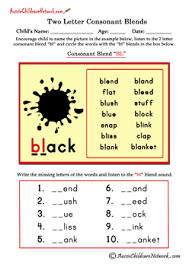 Phonics printable worksheets and activities (word families). Two Letter Blends Aussie Childcare Network