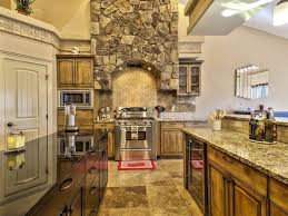 Rustic Granite Countertops Rustic Kitchen With Limestone Tile One Wall In Meridian Id