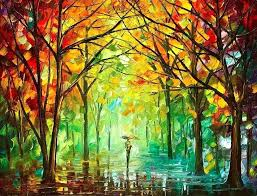 modern oil painting in the forest palette knife modern art oil painting on canvas by contemporary