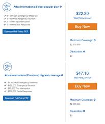 travel insurance comparison chart