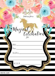 Free Invitation Design Templates Fascinating FREE Printable Golden Unicorn Birthday Invitation Template Free