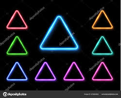 Vector Abstract Neon Triangle Set Light Effect Background Glowing