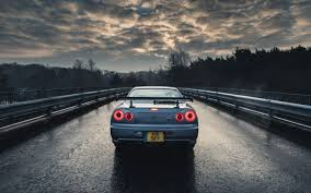 car nissan nissan skyline gt r r34 blue cars rain trees
