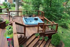Backyard Decking Designs Beauteous Backyard Deck Designs With Hot Tub Decks With Hot Tubs The Metalrus