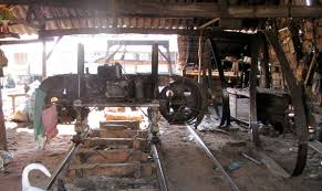 vertical bandsaw mill. larger resaw at a mekong delta boatyard, fitted with 150 mm (6\ vertical bandsaw mill ,