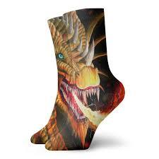 Lighting Socks On Fire Amazon Com Unisex Stockings Fire Lighting Dragon Casual
