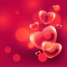 Beautiful Love Hearts Bubbles Floating In Air On Red Bokeh Backg