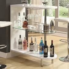 bowery hill contemporary home bar table with glass shelf in white bh 451192