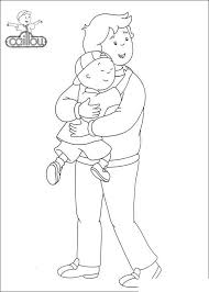 Caillou Coloring Pages Caillou And Dad Get Coloring Page
