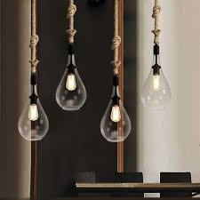 restaurant pendant lighting. clear glass mini pendant light restaurant lighting fixture with rope accent