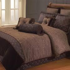 classic bedroom with paisley queen chocolate comforter set and brazilian cherry hardwood flooring bedroom