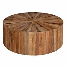 low cyrano reclaimed wood solid round drum modern eco home coffee table in addition