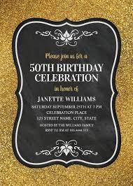 50th Birthday Invitations Templates Glitter Adult 50th Birthday Party Invitations Chalkboard