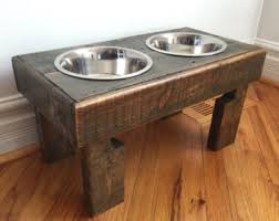 reclaimed elevated pallet dog bowl stand pet feeding station with 2 brand  new stainless steel bowls