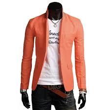 Light Orange Blazer Mens Stand Collar Slim Fit Single Button Orange Blazer