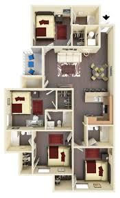 Photo 5 Of 6 West Run Apartments 4 Bedroom 4 Bathroom Floorplan Near WVU  (awesome 4 Bedroom Apartments In