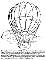 Small Picture First Hot Air Balloon Flight in United States Coloring Page