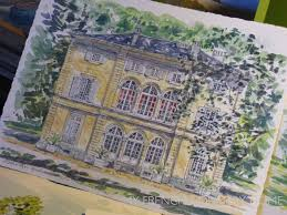 style girlfriend stylish home. Celine Chollet; WATER COLOUR PAINTING OF FRENCH MANSION HOUSE Style Girlfriend Stylish Home