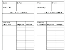 Daily Workout Template Free Fitness Journal Template 8 Best Images