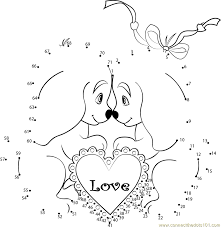 Cute Valentines Day Dogs dot to dot printable worksheet - Connect ...