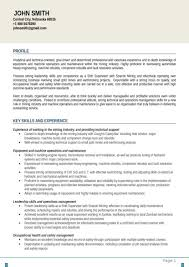 Comfortable Coal Mining Resume Templates Gallery Entry Level