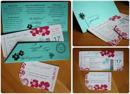 Turquoise Pink Hibiscus Palm Tree Swirl Boarding Pass Wedding