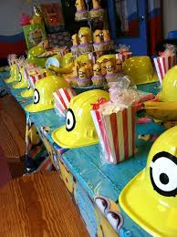 Birthday party Despicable Me- love the construction hats!