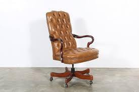 english style tufted tan leather swivel office chair