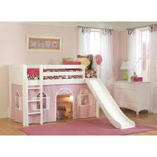 White Low-Loft Twin Playhouse Bed with Slide and Ladder - Free Shipping  Today - Overstock.com - 15829753
