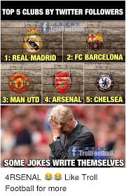 'if they sent me away, do you have any idea how much money they would have to give me?' Top 5 Clubs By Twitter Followers 1 Real Madrid2 Fc Barcelona Al 3 Man Utd 4 Arsenal5 Chelsea R E Al Ttrollfootbal Some Jokes Write Themselves 4rsenal Like Troll Football For