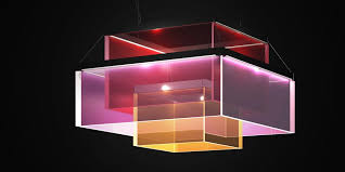 square lamp in red magenta and orange colors whimsical ceiling lights e9