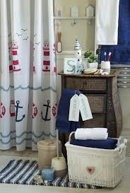 mesmerizing lighthouse nautical bath accessories ideas with rattan dresser and white anchor themes shower curtain in lovely nautical bathroom decor ideas
